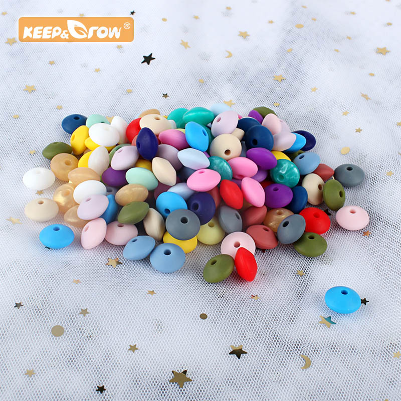 keep&grow 50pcs Lentil Silicone Beads 12mm Food Grade Rodent DIY Baby Pendant Necklace Baby Teether children's products(China)