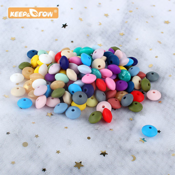 keep&grow 50pcs Lentil Silicone Beads 12mm Food Grade Rodent DIY Baby Pendant Necklace Baby Teether children's products