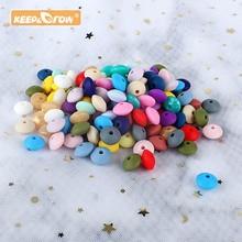 keep&grow 50pcs Lentil Silicone Beads 12mm Food Grade Rodent DIY Baby Pendant Ne