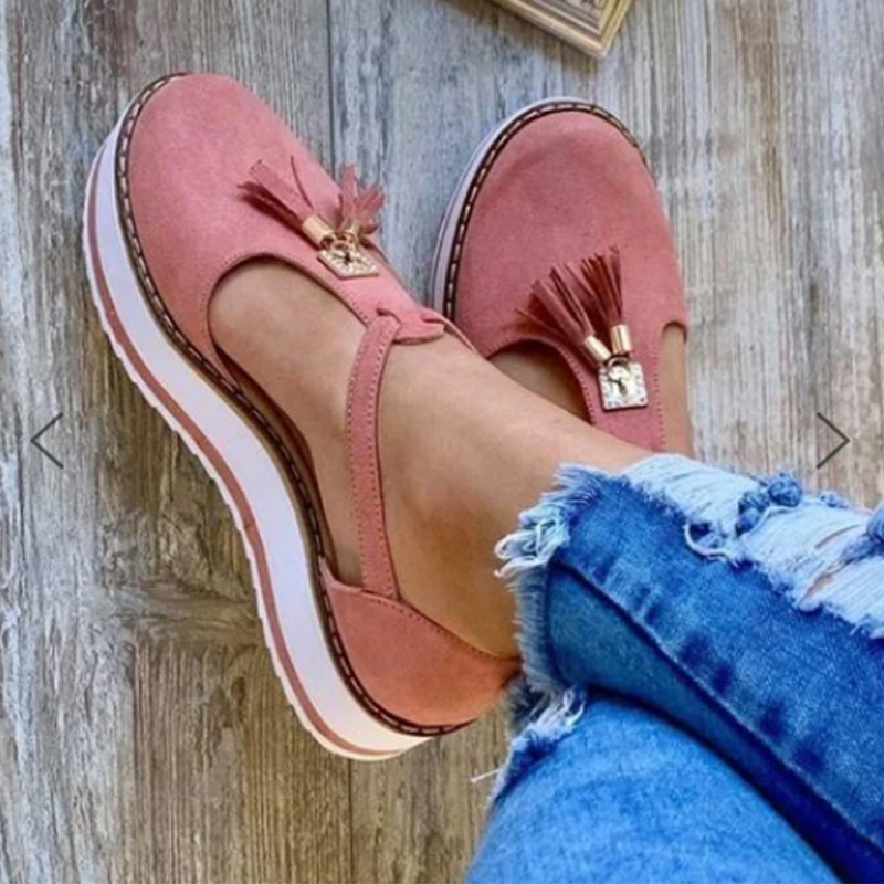 Spring Summer Shoes 2020 Women Hemp High Heel Fringe Platform Flat Shoes Outdoor Leisure Buckle Slippers Beach Sandals Sexy Hot