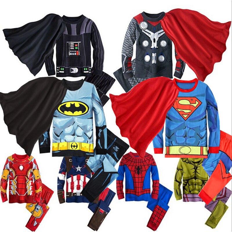Baby Clothing Set For Boys Hulk Superhero Batman Iron Man Costume Spiderman Kids Pajamas Clothes Children Sleeping Clothing Sets