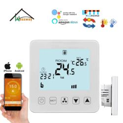 HESSWAY TUYE Voice control By Mobile phone  fan coil wifi thermostat 4pipe for iOS & Android Amazon Alexa and Google Home