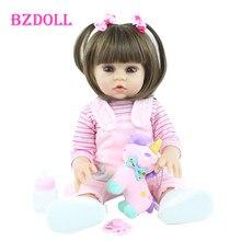 Muñeca Reborn de silicona para niñas, juguete de Vinilo Suave de 48 CM y 55 CM, de 19 pulgadas, regalo de cumpleaños para bebés, muñecas para bañar