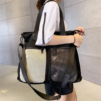 Large Capacity Female Big Tote Handbag Single Shoulder Bag Korean Version Bag Collision Color Leisure Bag Detachable Women Bag
