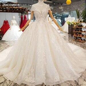 Image 1 - LS335100 kragen kette schmücken wie weiß hochzeit kleider mit hoher halskette kappe hülse braut hochzeit kleider 2020 beste verkäufer