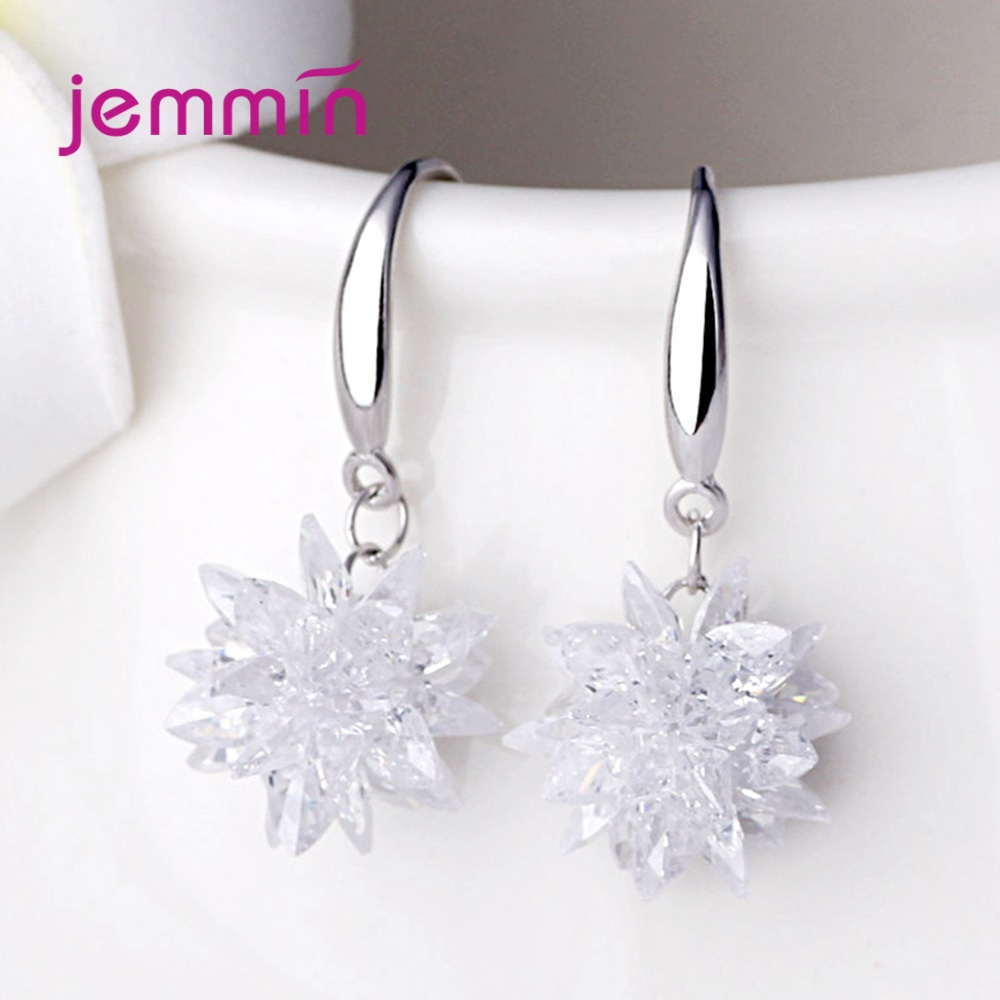 1 Pair Fashion DIY Handmade Cubic Zircon Flower Earrings 925 Sterling Silver Ice Flower Shape Earring Accessory Free Shipping