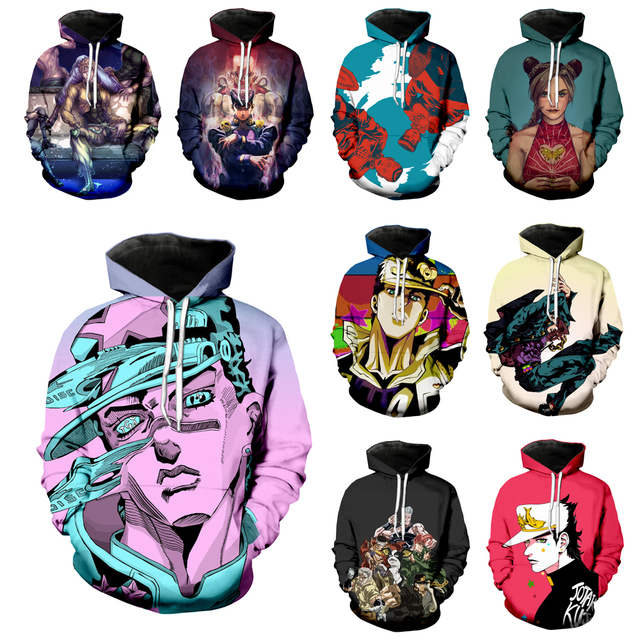 Anime JoJo Bizarre Adventure Hoodies Men Women JOJO Sweatshirt 3D Print Fashion Long Sleeve Hip Hop Top O Neck Pullover C045-14