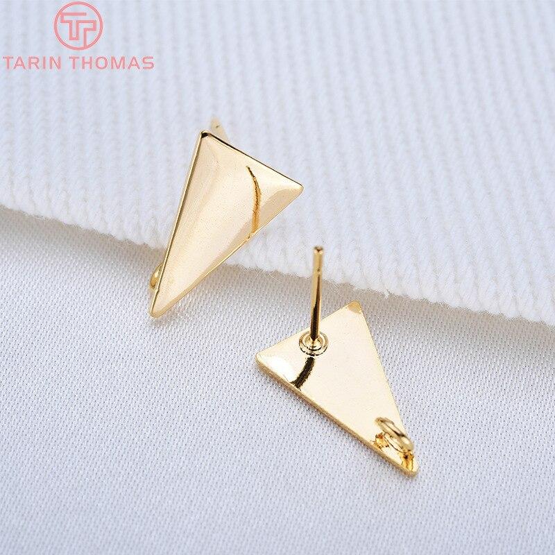 10 шт. 14x8,5 MM 24k Gold Цвет латунь длинные треугольники серьги-гвоздики Высокое качество Diy аксессуары для ювелирных изделий