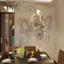 цена на Exquisite Flower 3D Mirror Wall Stickers Removable Decal Art Mural Home Bedroom TV Background Decoration