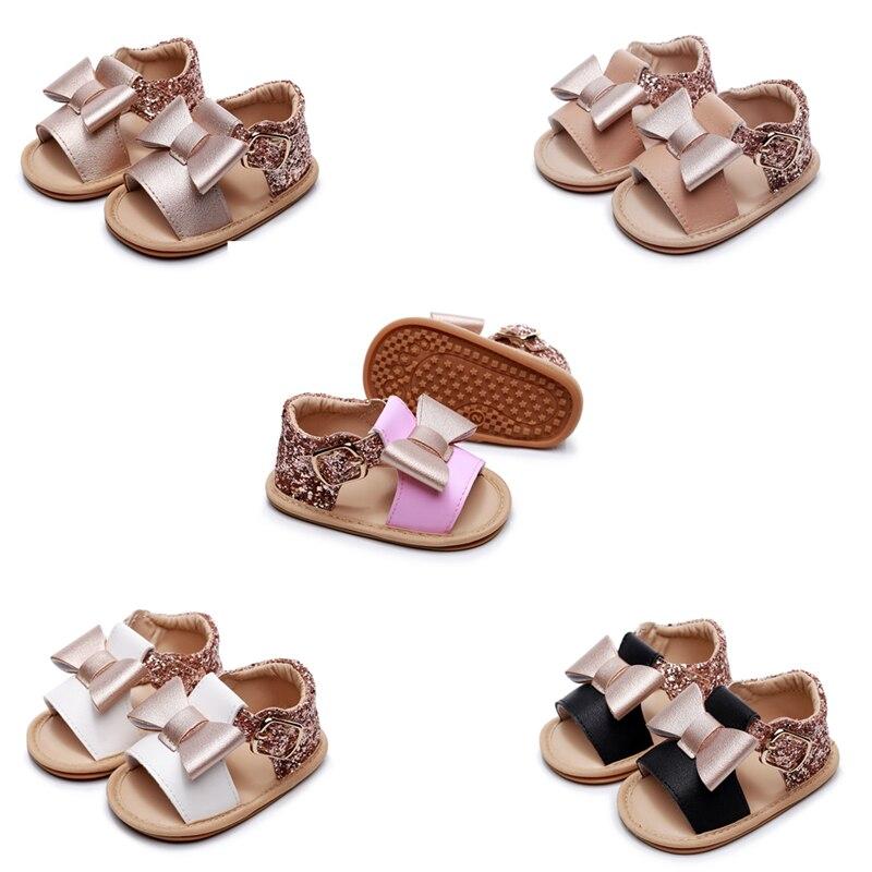 2020 Cute Newborn Infant Baby Girls Bowknot Princess Shoes Diamond Toddler Summer Sandals PU Non-slip Rubber ShoesSize 0-24M