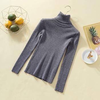 Fashion Women 2019 Korean Winter Clothes Turtleneck Scarf Collar Sweater Rolls Woman High Neck Sweater Black Knitted Slim Shrug 8