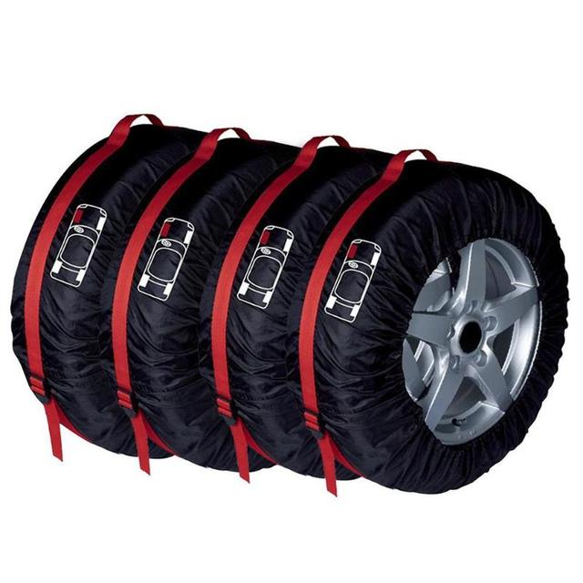 4Pcs Spare Tire Cover Case Polyester Universal Car Auto Tires Storage Bag Automobile Tyre Accessories Vehicle Wheel Protector 2