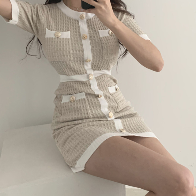 Button Knitted Dress Bodycon Mini Vestido club Korean Summer Sexy Party Elegant Black 2020 Casual Sweater Dress Robes Clothes 3