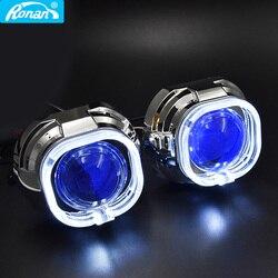 Ronan 3,0 полностью металлический Би ксеноновый супер проектор Объектив светодиодный кожух красный зеленый синий RGB дьявол Демон глаза H4 H7 авт...