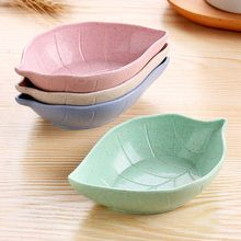 Creative Leavess Dish Baby Kid Bowl Wheat Straw Soy Sauce Dish Rice Bowl Plate Sub - plate Japanese Tableware Food Container(China)