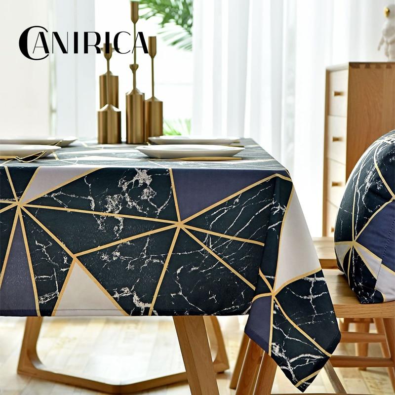 Скатерть из льняной ткани CANIRICA с геометрическим узором, покрытие для обеденного стола, Черное золото, прямоугольный столик, кухонные аксессуары Скатерти      АлиЭкспресс