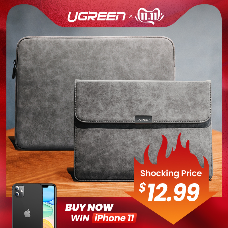 Ugreen Laptop Bag Leather Notebook Bag Case Cover For Macbook Air Macbook Pro 13 Case Laptop Funda iPad Pro Air Sleeve Case image