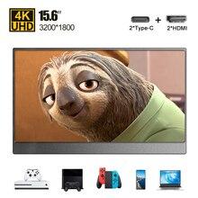 Écran LCD ultramince portable 4K avec HDMI type c 15.6, moniteur pour téléphone, PC, ordinateur portable, Switch, Ps4, Xbox USB C