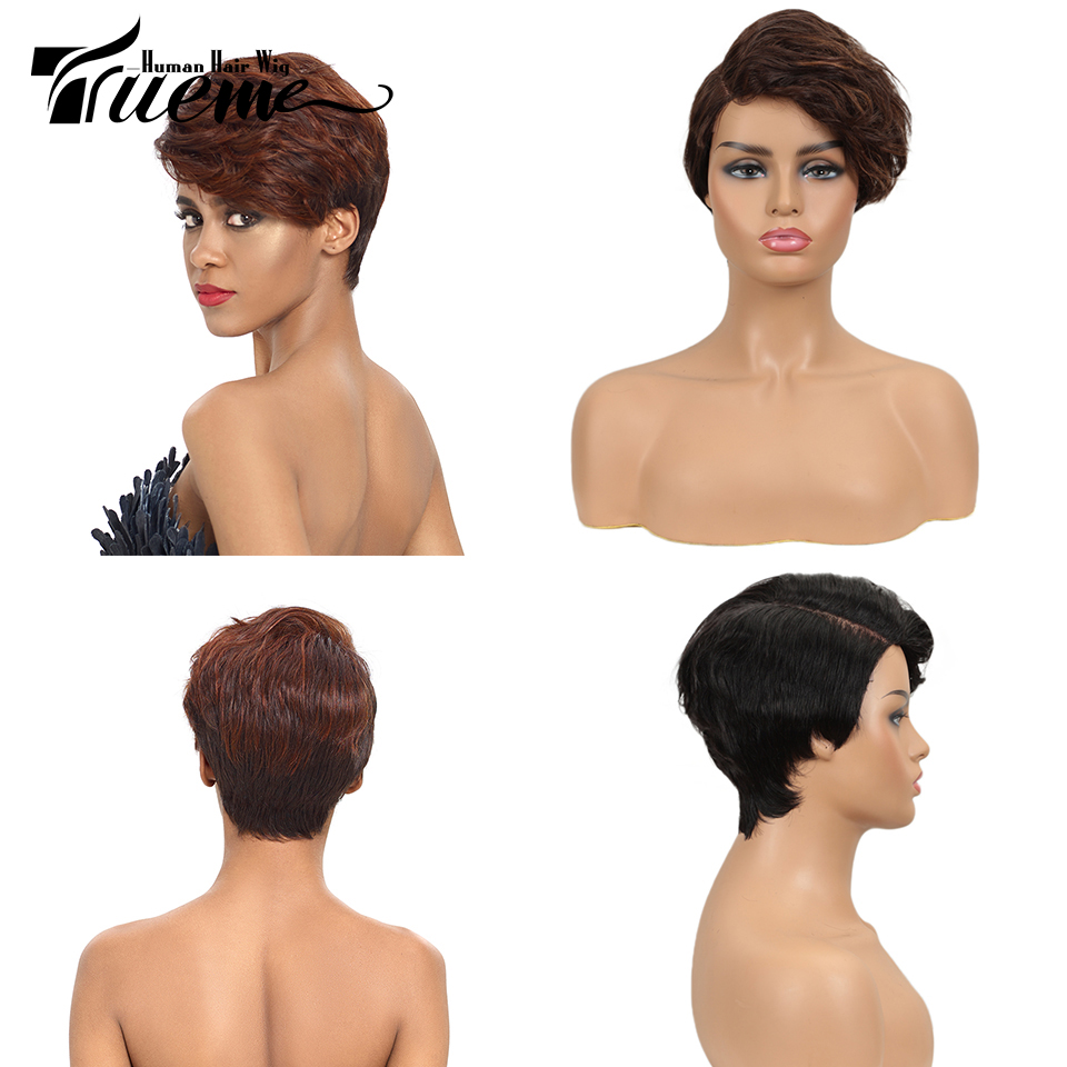 Trueme Lace Part Short Human Hair Wigs 100% Remy Brazilian Hair Ocean Wave U Part Lace Front Red Brown Wigs For Black Women
