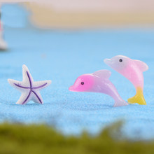 Colorful Sea Zoo Dolphin Starfish Sea Fish Star Model Small Statue Figurine Little Crafts Ornament Miniatures Home Decoration(China)
