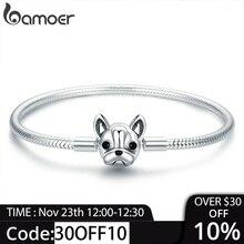 BAMOER 100% véritable 925 argent Sterling bouledogue français chien serpent chaîne femmes Bracelet & bracelets bijoux en argent 17CM SCB075