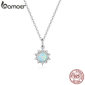 bamoer Authentic 925 Sterling Silver White Opal Sun Pendant Necklace for Women Chain Link Necklaces Silver 925 Jewelry SCN399