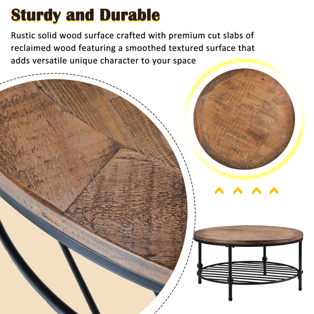 Natural Round Coffee Table with Storage Shelf  5