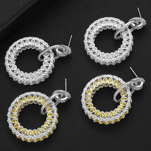 Image 2 - GODKI Jimbora Luxury Popular Round Pendant Dangle Earrings Full Mirco Paved Cubic Zircon Naija Wedding Earring Fashion Jewelry