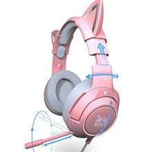 RGB Gaming 7.1 słuchawki Stereo różowy zestaw słuchawkowy wymienny ucho kota przewodowy USB z mikrofonem redukcja szumów dla PS4/Xbox one ładna dziewczyna