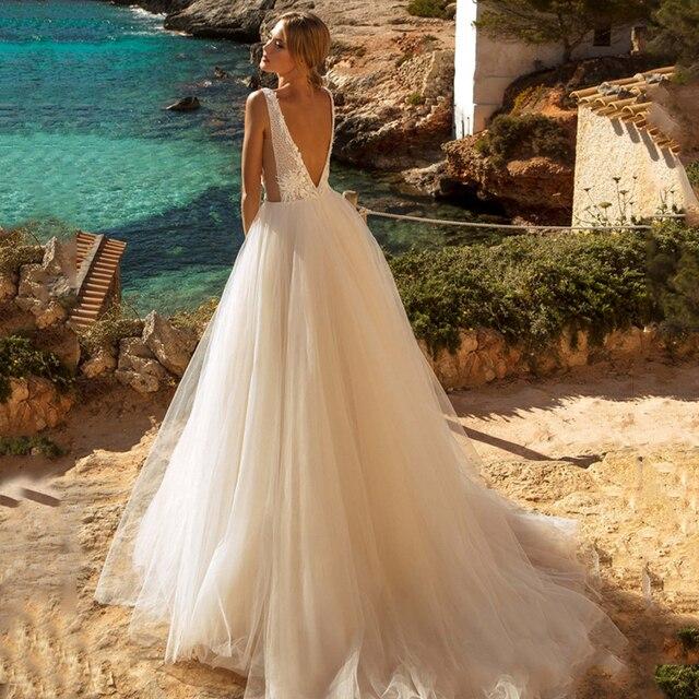 Verngo A-line Wedding Dress Lace Appliques Boho Wedding Dress Backless Bride Dress 2020 Weeding Gowns vestidos de novia 2020 2
