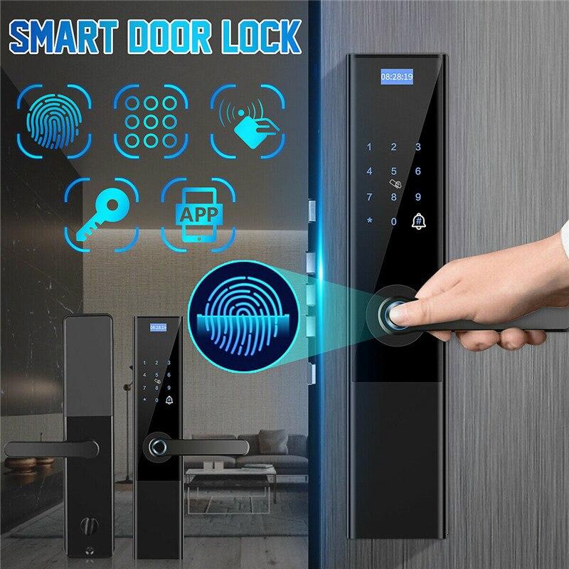Цифровой биометрический замок без ключа, умный дверной замок, приложение + сенсорный + пароль + ключ + накладка + отпечаток пальца, 6 способов