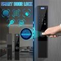 Цифровой биометрический замок без ключа  умный дверной замок  приложение + сенсорный + пароль + ключ + накладка + отпечаток пальца  6 способов