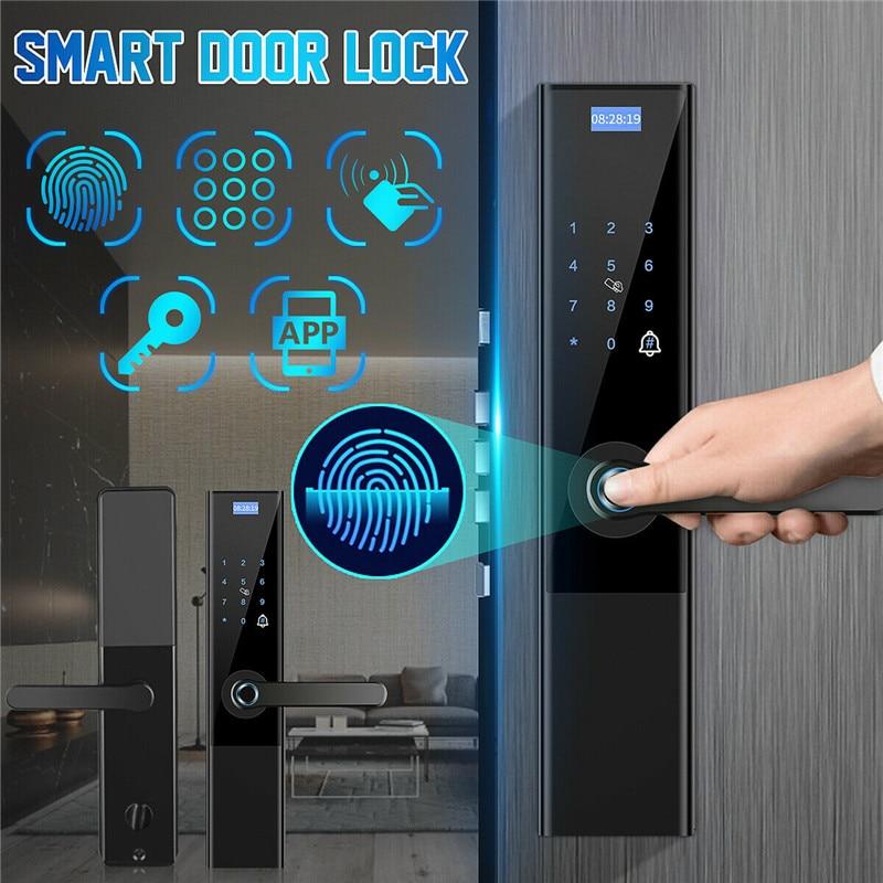 Digital Biometric Fingerprint Lock Keyless Smart Door Lock APP+ Touch+ Password +Key+pad Card+ Fingerprint 6 Ways