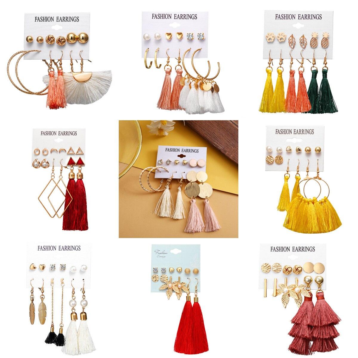 6pair/set Long Tassels Earrings Set Tassel Earring Fashion Jewelry for Women Dangle Earrings Christmas Gifts trendy earrings