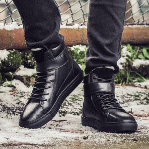 Image 4 - mens luxury fashion winter snow boots warm fur ankle boot cow leather cotton shoes flats platform outdoor botas masculina mans