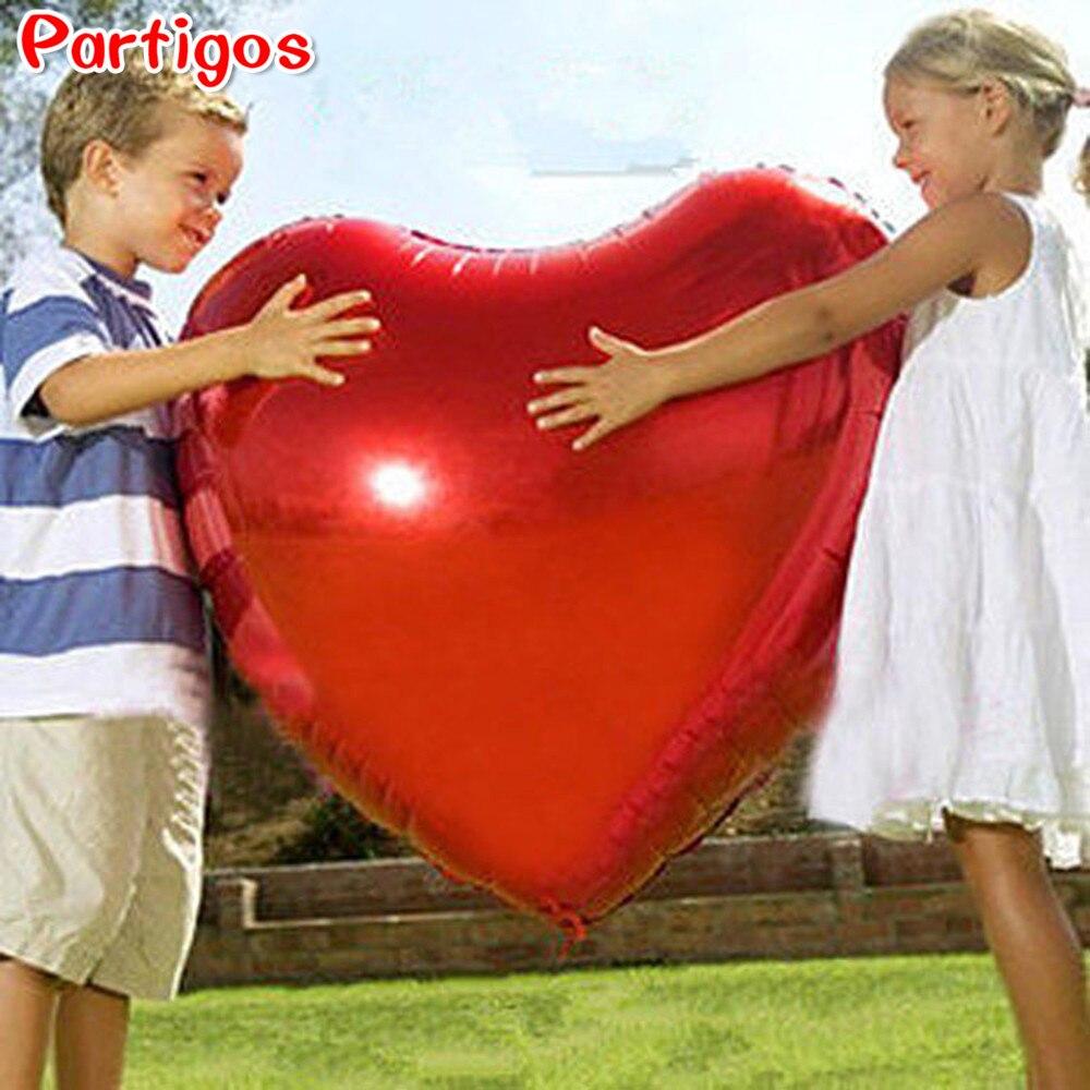 Balão de coração 75cm vermelho coração forma balões de festa de ar dia dos namorados decorações de amor de casamento suprimentos de casamento balões de folha