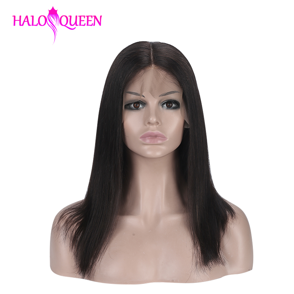 HALOQUEEN Remy Hair Straight Lace Front Wig For Women Malaysian 130% 150% Density 13X4 Lace Frontal Wig Straight Human Hair Wigs