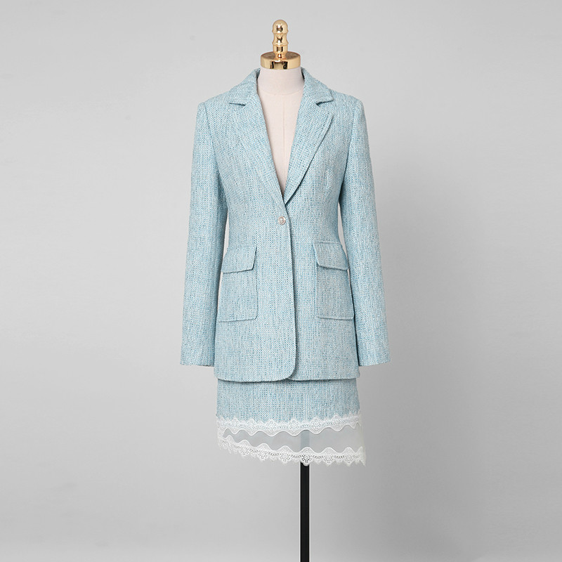 [DARK] Autumn And Winter Women's Clothing 2020 New Small Fragrance Style Two-piece Tweed Suit Jacket Skirt Suit