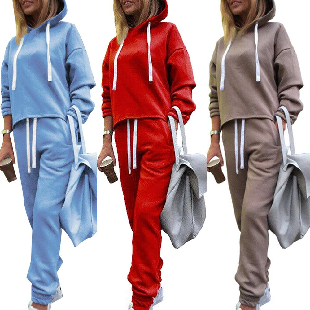2Pcs Sports Set Women Solid Color Running Fitness Jogging T-shirt Tracksuits Long Sleeve Hoodies Coat Pants