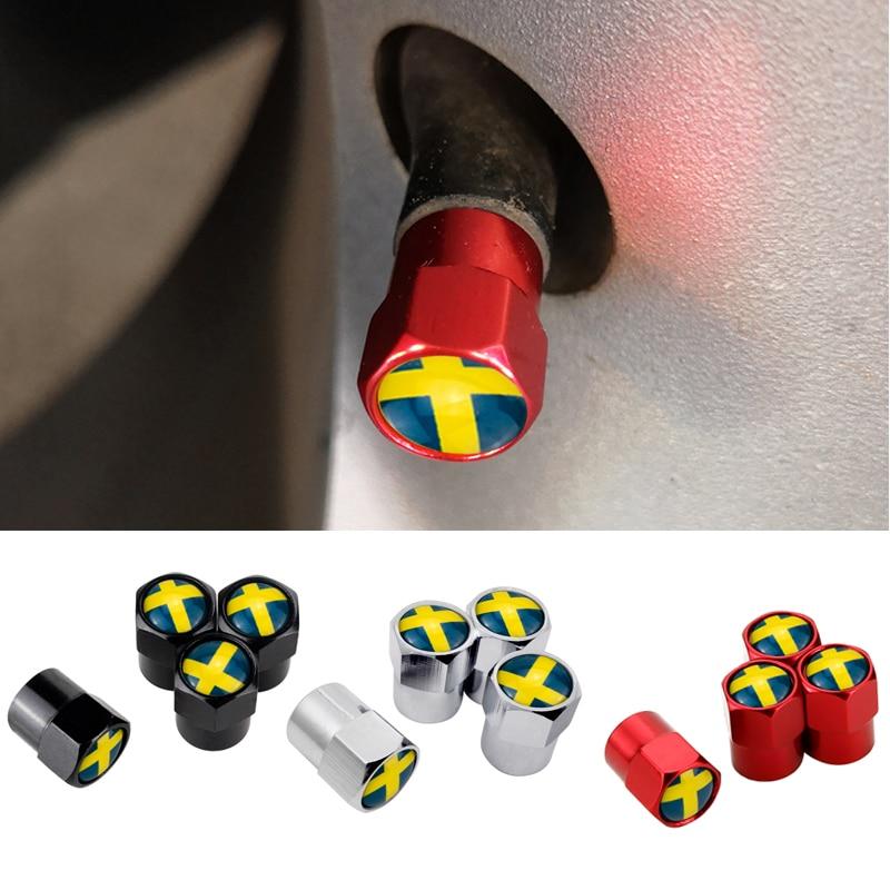 Metal Car Wheel Tire Valve Caps Sweden Flag Logo Fit For Volvo V40 V50 V60 V70 S40 S60 S60L S70 S80 S90 XC40 XC60 XC70 XC80 XC90