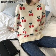 สุภาพสตรีพิมพ์เชอร์รี่ถักเสื้อจัมเปอร์ Minimalist Warm ฤดูใบไม้ร่วงฤดูหนาวผู้หญิงเสื้อกันหนาว