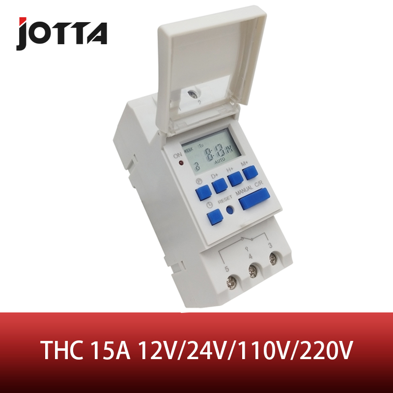 Relé programável semanal do tempo do interruptor do temporizador de digitas de thc 15a 12 v 24 v 110 v 220 v lcd digital