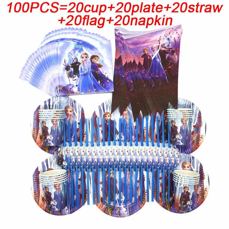 100 Uds. Niños niñas Elsa Anna princesa decoraciones de cumpleaños tema Frozen2 conjunto de suministros para fiesta vajilla desechable platos banderas