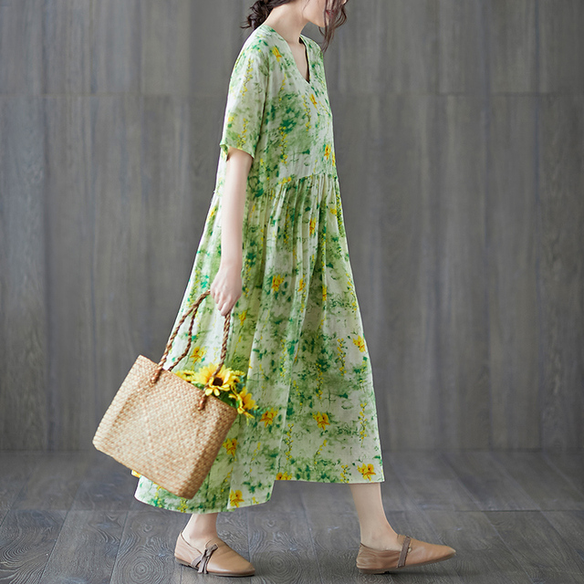 Uego Short Sleeve Loose Summer Dress Soft Cotton Linen Print Floral tender Ladies Dress Plus Size Women Holiday Casual Dress 4