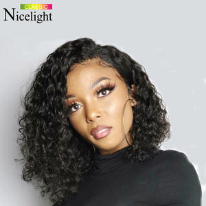 Nicelight Wig Short Human-Hair-Wigs Hairline Lace-Frontal Water-Wave Natural Bob 13x4