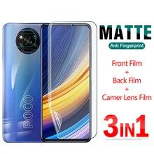 3 IN 1 Matte Hydrogel Film Front Back Lens For Xiaomi Poco X3 F3 M3 NFC Pro Screen Protector Full Cover On PocoX3 PocoM3 PocoF3