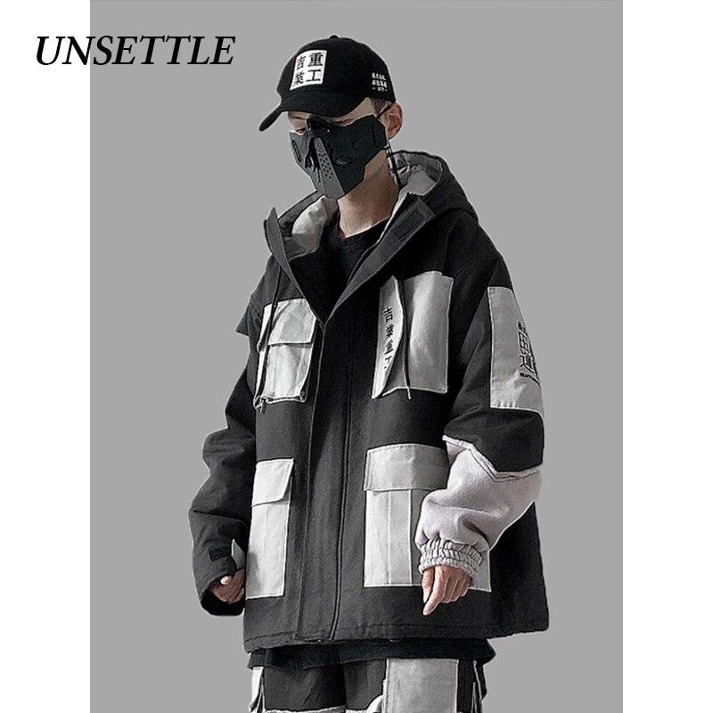 UNSETTLE 2019, японская Мужская зимняя парка, теплые куртки, много карманов, с капюшоном, высокое качество, парка, верхняя одежда, хип хоп Уличная одежда - 3