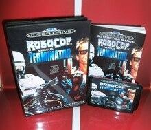 RoboCop 대 터미네이터 EU 커버 박스 및 설명서 Sega Megadrive Genesis 비디오 게임 콘솔 16 비트 MD 카드