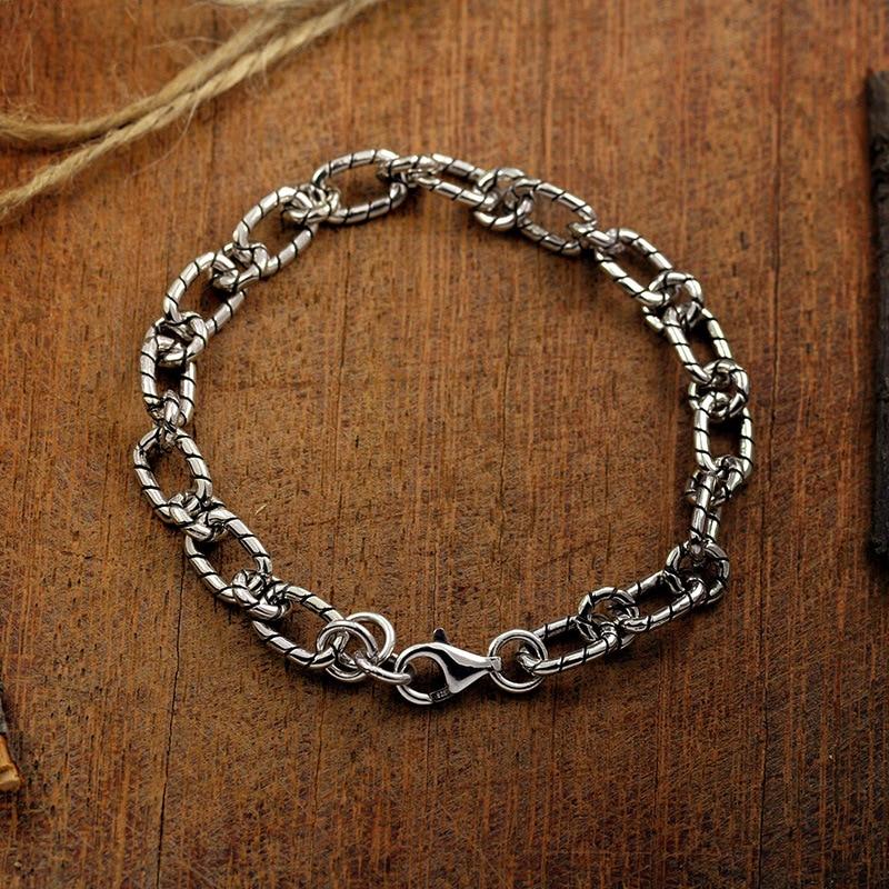 100?5 Sterling Silver color New Simple Bracelet Round buckle Flat Chain Thai silver color Student bracelet Fashion Jewelry Bracelets & Bangles    - AliExpress