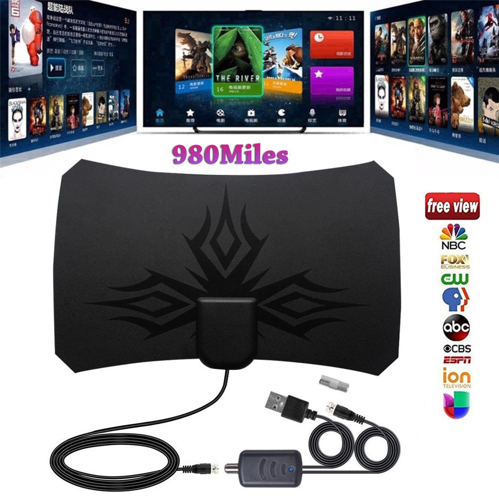 New 4K Digital HDTV Aerial Indoor Amplified  Antenna 980 Miles With HD1080P DVB-T2 Freeview TV For Life Local Channels Broadcast